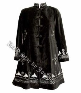 Hippy Coat~Gothic Hippy Ethnic Embroidered Knee-Length Velvet Coat~Fair Trade by Folio~JD/JK/6252
